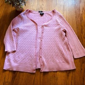 Talbots Pink Cable Knit Sweater Set Large